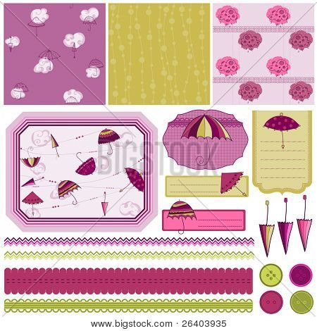 Design Elements for Scrapbook with umbrella - easy to edit