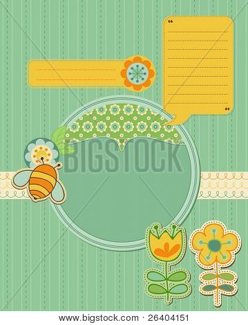 Baby Card with bee and flowers - for scrapbook and design