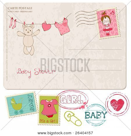 Baby Shower Card with set of stamps