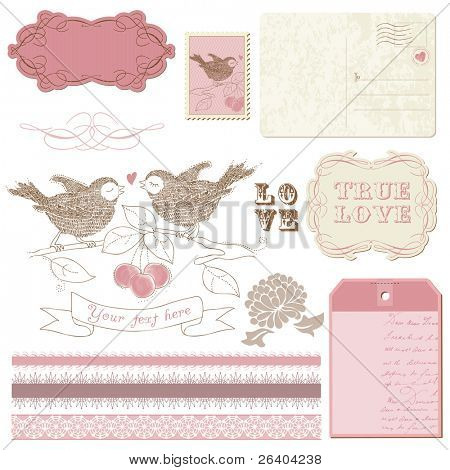 Scrapbook design elements - Birds in love