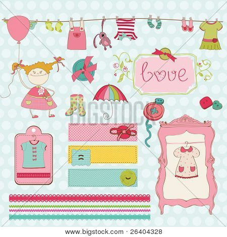 Elementos de design para bebê Scrapbook - coleção de guarda-roupa do bebê menina