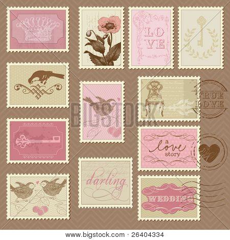 Retro Briefmarken - für Hochzeit-Design, Einladung, Gratulation, Sammelalbum