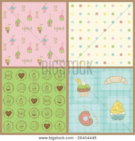 Conjunto de bellos Cupcakes fondos - en vector