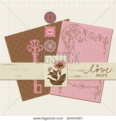 Scrapbook Vintage design elements in vector
