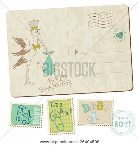 Baby Boy Shower or Arrival Postcard with stork in vector