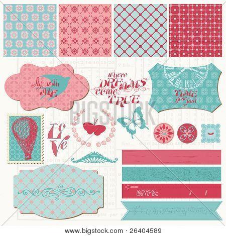 Elementos de diseño de bloc de notas - Vintage Set de amor