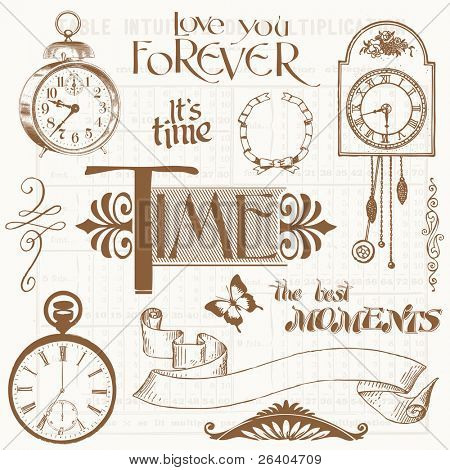 Scrapbook Design Elements - Vintage Time and Clocks