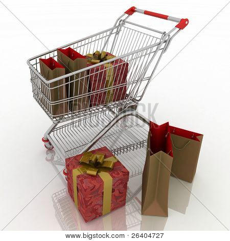 3d render shopping cart and holidays purchases