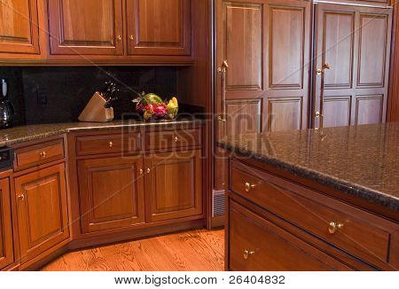 New custom wood cabinets with granite counter tops