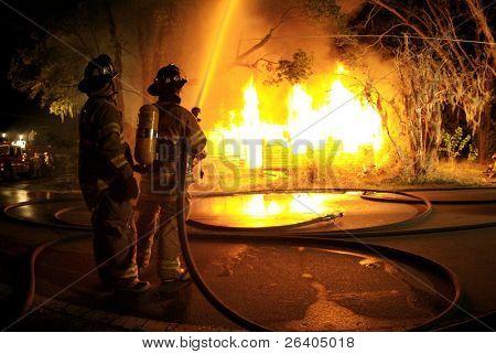 Firefighters suppress blazing fire