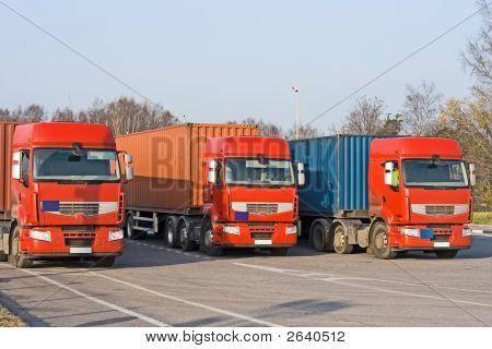 3 Semi Trucks At Warehouse Of My Vehicles Series