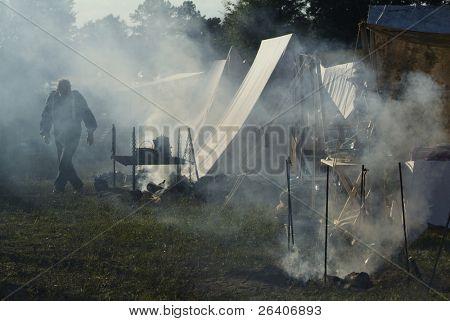 Civil War reenactment fire cook pit stove