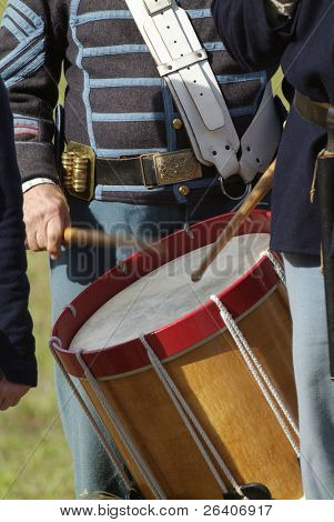 Civil War reenactment Confederate Union drummer