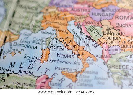 Macro Globe Map Detail 28 Italy