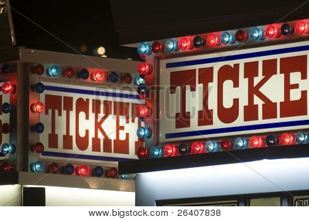 Carnival ticket stand booth sign
