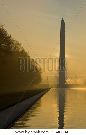 Mall at sunrise Washington Monument DC travel series 25