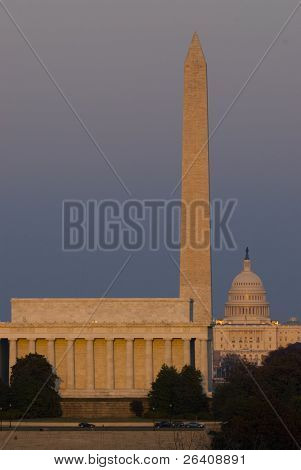 Washington Monument mall Lincoln Kapitol Nacht dc Reisen Serie 42