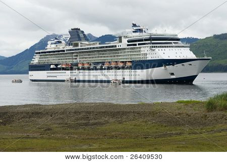 Beautiful large cruise ship boat anchored in Alaska harbor