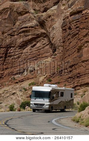 Vacation RV travel through Arches National Park Utah