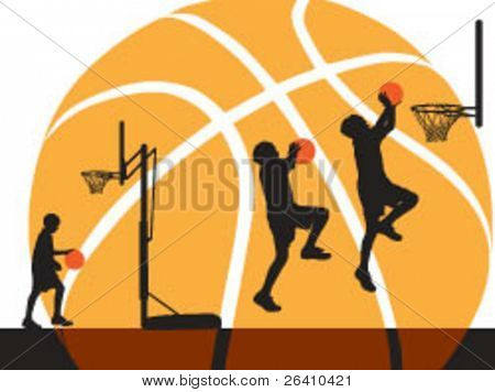 Basketball boy silhouette outline with hoop and back board - Vector Illustration