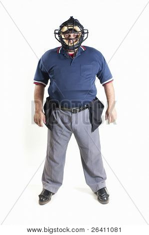 Professional baseball umpire on white background