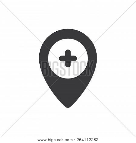 Hospital Location Vector Icon On White Background  Hospital Location Icon  In Modern Design Style  Ho poster