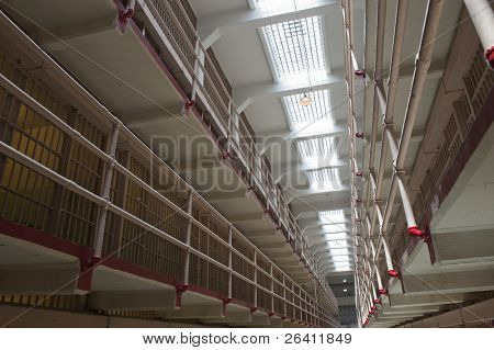 Prison cell block jail bars