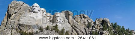 Large Mt. Rushmore panorama landscape image with blue sky