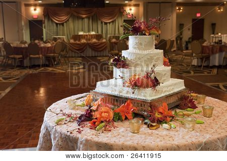 Wedding cake reception party table