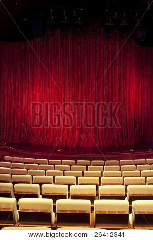 Red theatre stage curtain