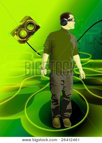dj in the space zero gravitation ,loudspeaker levitation,electronic music events flyer background