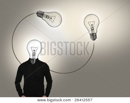 abstract bulb-head concept ,photorealistic illustration