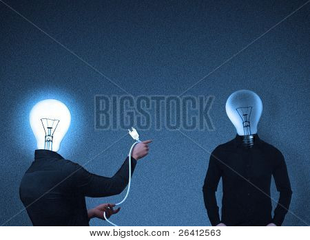 abstrakt Lampe Kopf Leute Interaktion, fotorealistische Darstellung