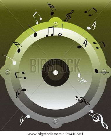 illustrated loudspeaker and musical notes