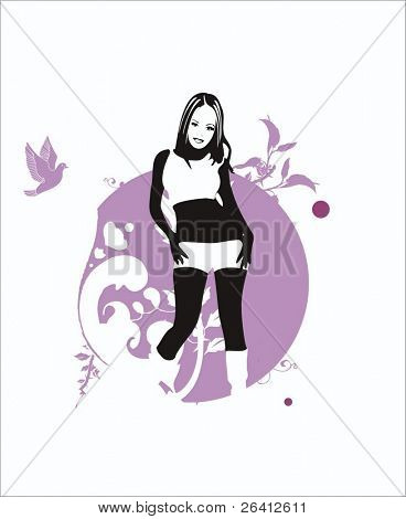 vector illustration of girl on floral background