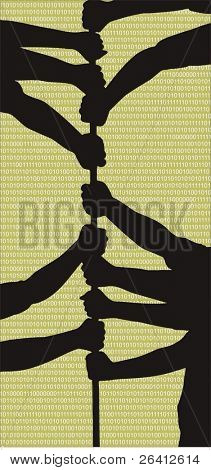 teamwork vector illustration, silhouette people hands