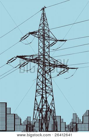 vector power line illustration,color and size as you wish