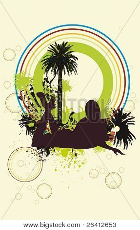 a sexy young girl silhouette drinking a cocktail  under the palm trees,design elements,vector illustration change color & size  as you wish