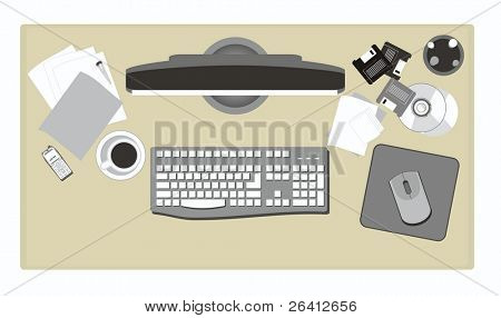 office elements,including,keyboard,monitor,floppy ,cd ...vector file format,change color &size as you wish