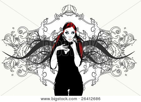 vector femme fatale on detailed floral wireframe  background,change color and size as you wish