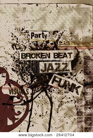 artistic grunge flyer design on aged paper with ink bolt, broken-beat, funk, nu jazz,eroded, rusty, just ad your text