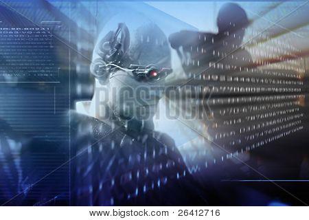 futuro de la ciencia, tecnología, realidad virtual, un androide Lee la información codificada en el holograma sc