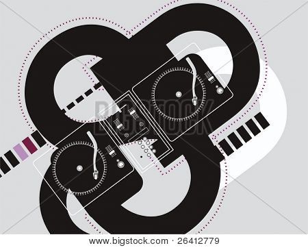 abstract geometrical flyer design,two turntable and mixer wireframe on black & white shapes,vector illustration change color and size as you wish