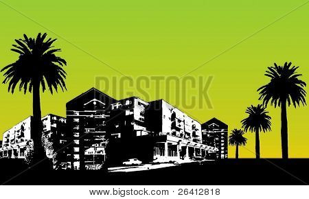 vector city scape,buildings palm trees
