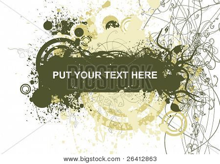 abstract floral & grunge banner decorative flyer design