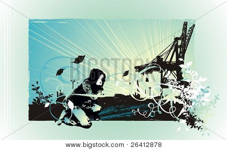 artistic vector illustration party flyer design describing a girl sitting near a factory,eroded grunge frame background and floral design ellements