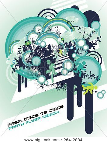 abstract party flyer design ,vector illustration,silhouettes running on the zebra,behind the shape of the city with floral and grunge elements