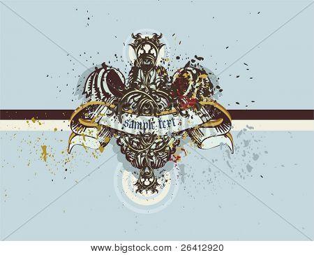 Escudo decorativo vintage o medalion con banner en blanco, elementos florales, heráldicas grunge