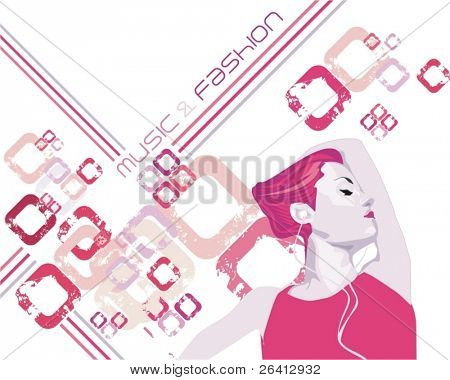 beauty girl dancing & listening music, abstract grunge tech background & design elements ,vector illustration