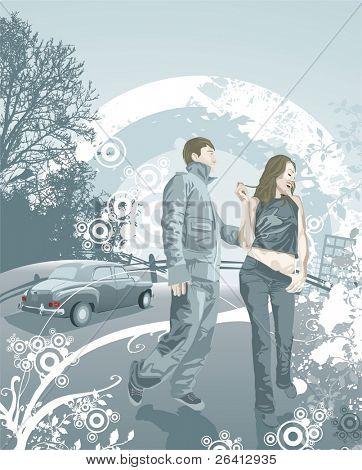 Pareja joven feliz en el amor, grunge & elementos florales, vector illustration